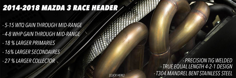 2.5 Skyactiv performance header for the Mazda 6 and Mazda 3