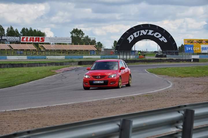 Niclas Swahn with his CorkSport equipped Mazda msp on a track in Sweden.