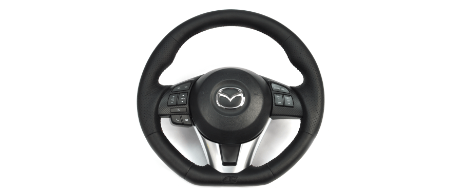 Our leather steering wheel has a hand-wrapped and stitched racing-inspired grip — and it only takes an hour and a half to install!