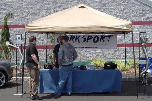 CorkSport tent with old CorkSport logo.