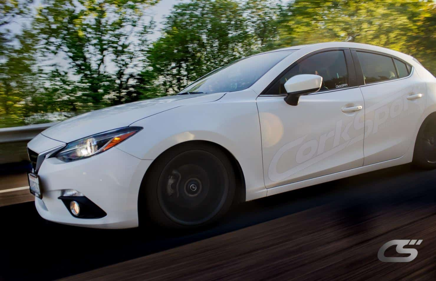 White Mazda 3 from CorkSport
