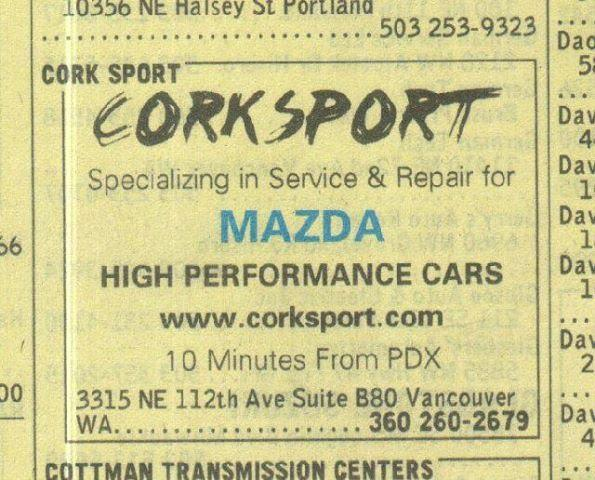 CorkSport Yellow Pages ad.