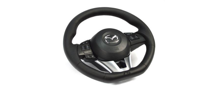 CorkSport's Mazda 3 steering wheel.