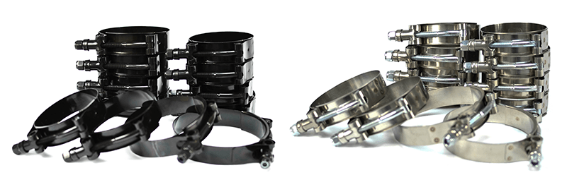 Stainless steel T-bolt clamps with nylock nuts. Available in black zinc or polished.