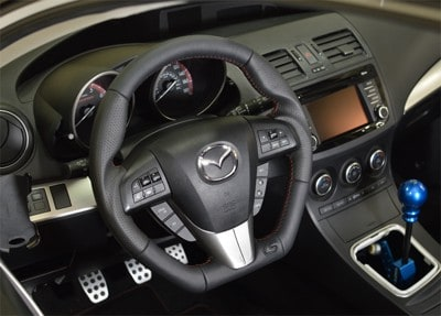 cork sport leather steering wheel mazda 3 mps bl my10 13. Black Bedroom Furniture Sets. Home Design Ideas