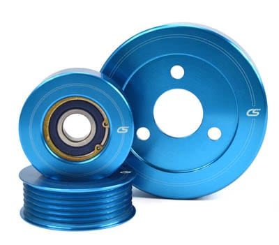 2007-2013 Mazdaspeed 3 Aluminum Pulley Set stacked.