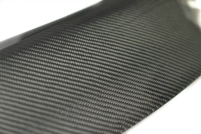 A closeup view of the weave of the carbon fiber spoiler.