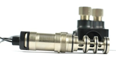 Close up of CorkSport Boost Control Solenoid valve.