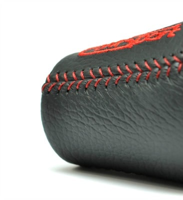 The stitching on our leather, Mazda shift knob is carefully crafted.