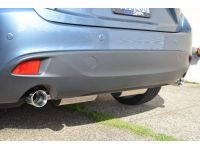 A rear-angled view of the cat-back exhaust from the driver's side.