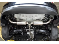 Ditch the factory muffler, and install Corksport's 2014+ Mazda 3 axle back exhaust for Sedans instead.