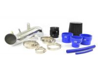 """CorkSport's 2010-2013 Mazdaspeed 3 Power Series 3.5"""" Intake System includes a turbo inlet pipe, clamps, MAF housing, a water resistant air filter, colorful silicone reducers, and vents."""