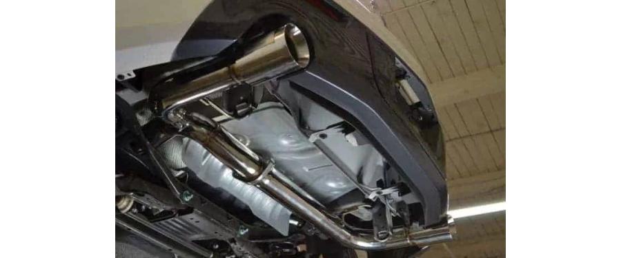 Mazdaspeed 3 Catback Exhaust non-resonated underneath left angled view