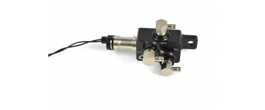 An overhead shot of CorkSport's Boost Control Solenoid shows off carefully crafted parts and functionality.