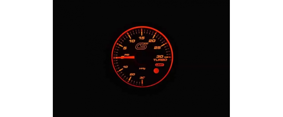 The CorkSport Mazdaspeed boost gauge has a 270 degree sweep stepper motor needle.